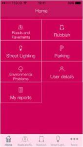 screenshot of GCC mobile app